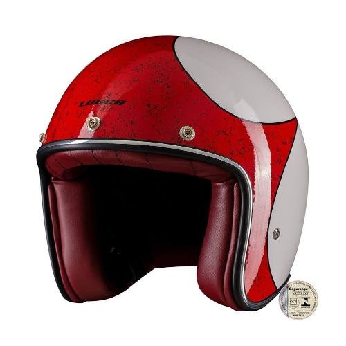 Capacete Lucca Custom Old Glossy White Red