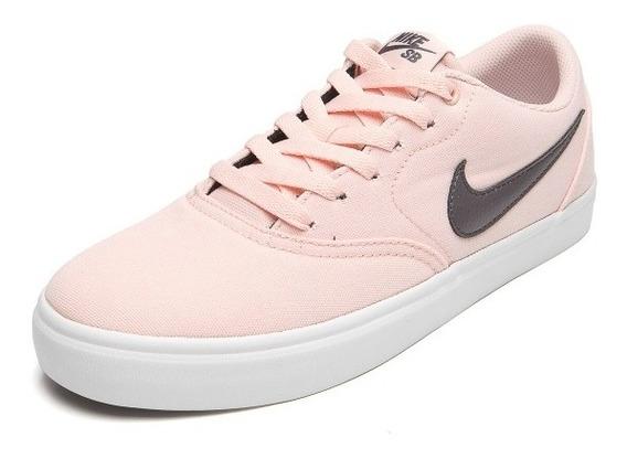 Tênis Nike Wmns Sb Check Solar Cnvs Feminino - Rosa E Preto