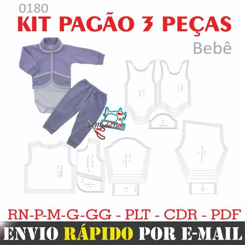 Molde Digital De Kit Pagão Bebê Com Três Peças