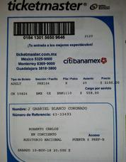 Tickets Roberto Carlos Auditorio Nacional