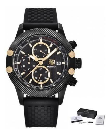 Relógio Masculino Benyar 5109 Pulseira Silicone Preto
