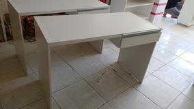 Mesa Para Escritório Com Gaveta Mdf Branco.