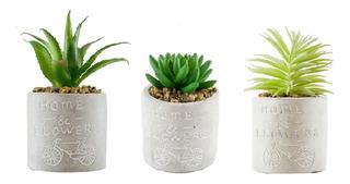 Planta Artificial Y Maceta Cemento Cilindrica 7.5 X 15 Cm
