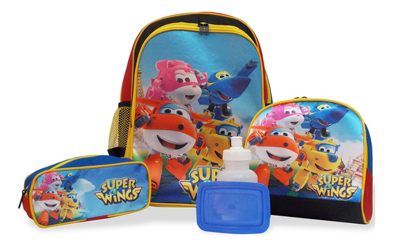 Kit Mochila Escolar Infantil Super Wings