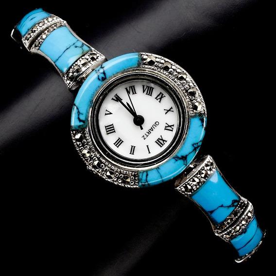 Relógio De Prata 925 Com Turquesa E Marcassitas Naturais