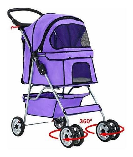 Púrpura 4 Ruedas Mascotas Viaje Cochecito Gato Perro Jaula