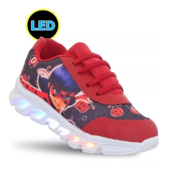 Tênis Ladybug Miraculos Skye Com 6 Super Luz Leds