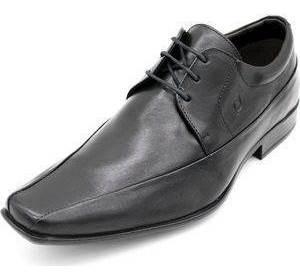 Sapato Perlatto Social Bico Quadrado Cadarço - 7701 Preto