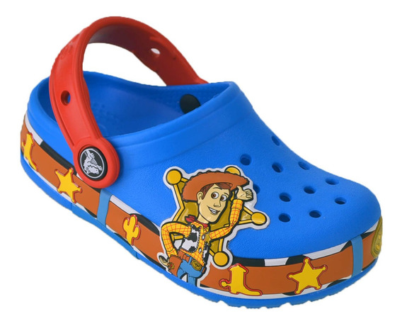 Crocs Vaquero Woody Luces Crocband Niños Original Celeste