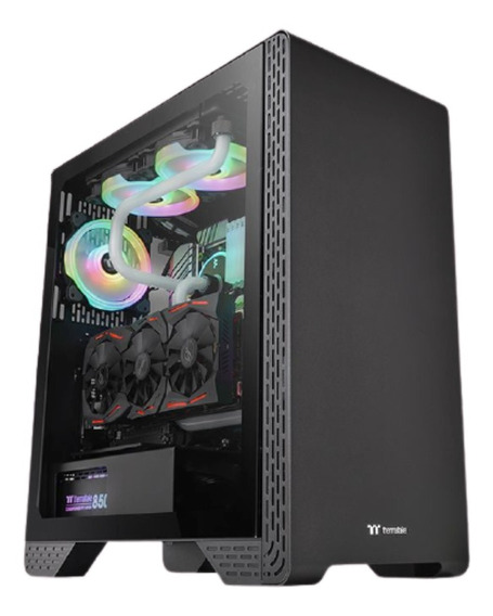 Gabinete Thermaltake Tt S300 Tg Templado Gamer Pc - Negro