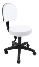 Cadeira Mocho Nice Branco Para Maca De Estética Base Preta