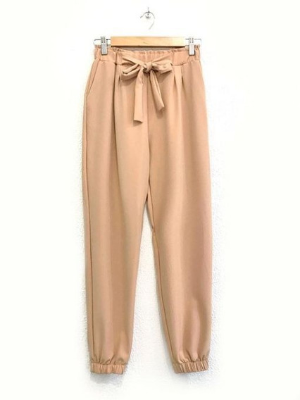 Pantalón Mujer Tipo Babucha De Crepe Con Bolsillos Y Lazo