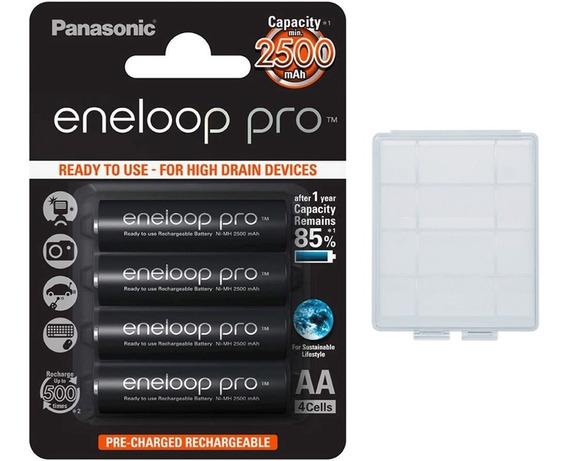 4 Pilhas Aa Recarregáveis Da Eneloop Pro 500 Recargas + Case