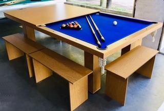 Pool Profesional + Tapa Ping Pong Comedor + 6 Bancos + Accs