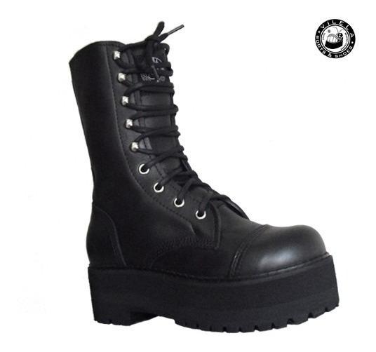 Coturno Vilela Boots Rock Solado Alto 100% Couro Cano Médio