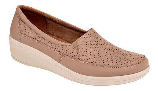 Zapato Piso Piel Flexi Dama Beige Cuña 4cm D26638 Udt