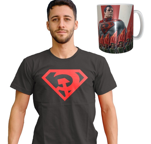 Imagen 1 de 1 de Combo Remera + Taza De Superman Red Son El Hijo Rojo Oferta
