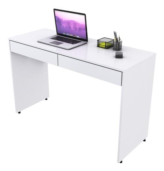 Escrivaninha Mesa C/02 Gavetas Lunna 1,20m Branco Brilho