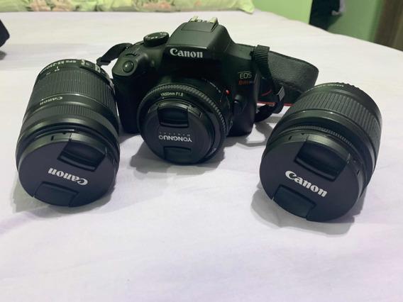 Canon Câmera Fotográfica T6 + Kit De 3 Lentes + Bolsa + Pedestal