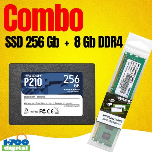Combo: Disco Solido Ssd 256gb + 8gb Ram Pc Ddr4 2666 Memori