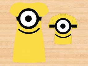 Vestido Adulto + Blusa Masc. Infantil - Minions Tema 3