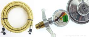 Mangueira Gas Glp 1,50 Mt Flexivel Botijao Aço Inox Regulado