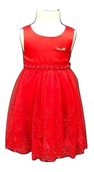 Vestido Importado Nena C/tull Y Bordado Fiestas Evento V1305