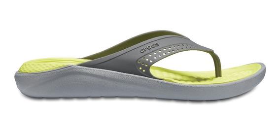 Sandalia Unisex Crocs Literide Flip Gris Claro / Amarillo