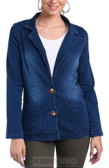 Saco Blazer Campera Jean Elastizado Dama Mujer Kierouno