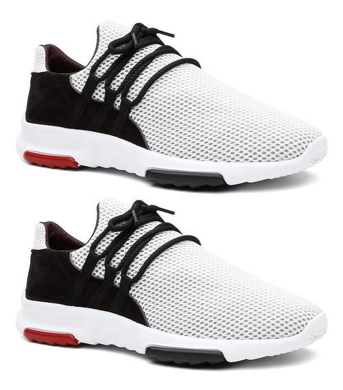 Kit 2 Pares Tênis Sneaker Masculino Caminhada Leve Conforto