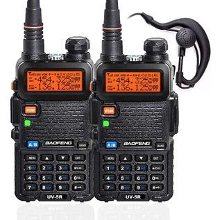 Kit 2 Rádio Comunicador Ht Dual Band Airsoft Uv-5r Fm Fone