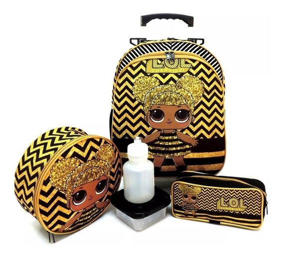 Kit Mochila Infantil Boneca Lol Queen Bee Rodinhas Tam M F5