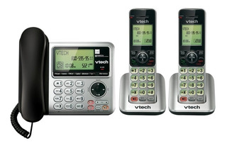 Set De 2 Vtech Telefonos Base Alambrica + Extension Cs6649-2