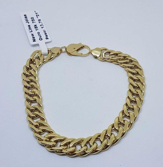 Pulseira De Ouro 18k 750 Grumet 21cm Peso 13,76 Gramas