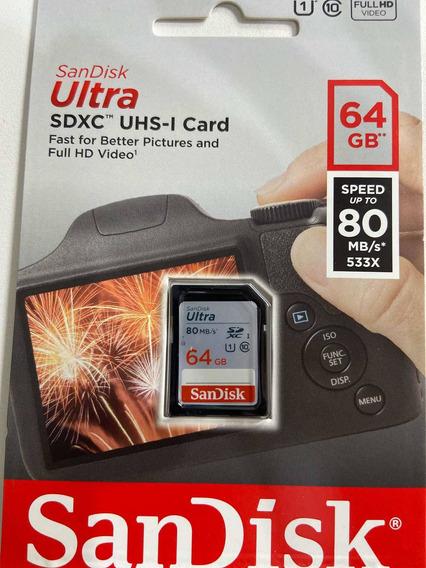 Cartão Sandisk Sd Uns-i 64gb Classe 10 80mb/s