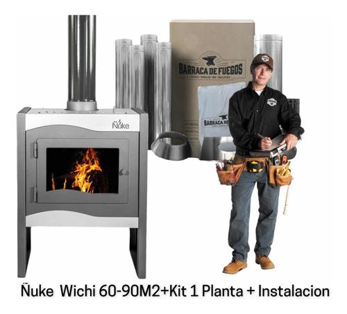 Imagen 1 de 7 de Estufa Calefactor A Leña Ñuke Wichi 60 + Kit  + Instalación