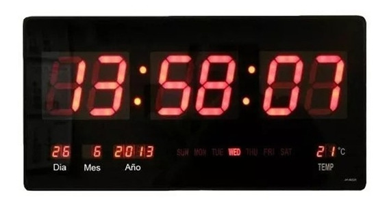 Reloj Digital Pared Led / Fecha / Temperatura / En Español