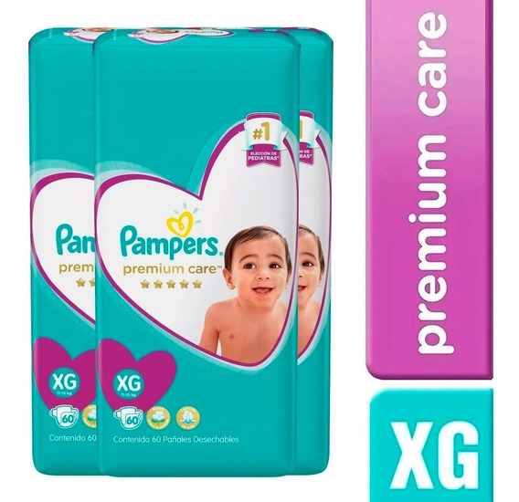 3 Paquete Pañales Pampers Premium Care 180 Unidades Talla Xg