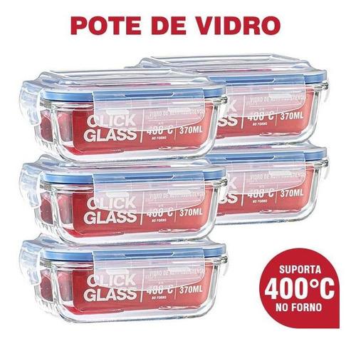 Imagem 1 de 4 de Kit Com 5 Potes De Vidro Click Glass Premium 100% Herméticos