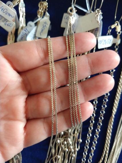 Corrente Prata 925 Trança Fina Chapada 40cm