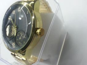Relógio Masculino Fundo Grafite Caixa E Pulseira Dourado