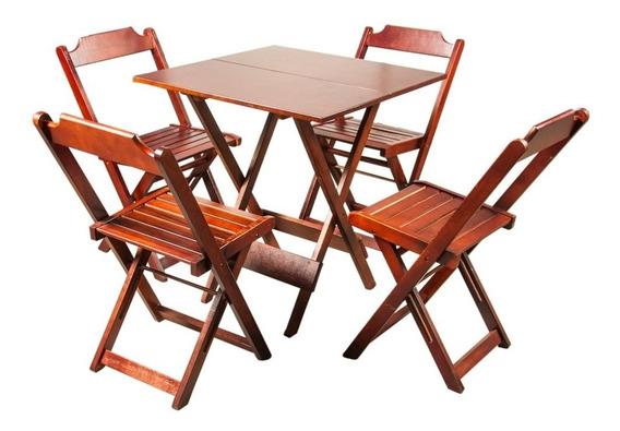 Jogo De Mesa 70x70 C/4 Cadeiras Madeira Dobrável Bar