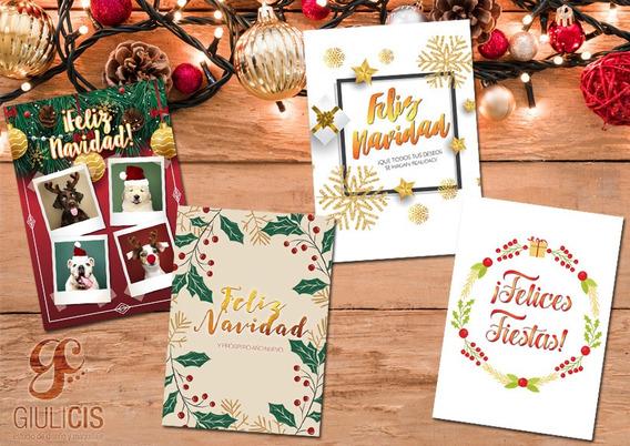 Pack De 4 Diseños De Tarjetas Navideñas Imprimibles