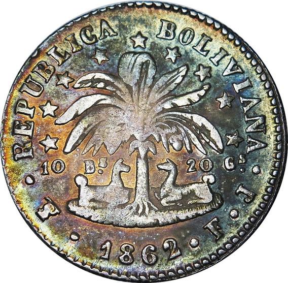 .: Bolivia 2 Soles 1862/1 Sobrefecha - Bolivar - Hermosa Patina :.