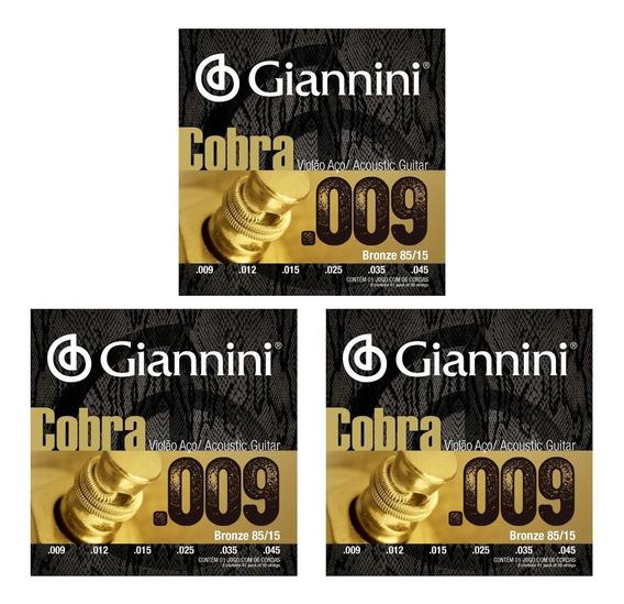 Encordoamento Giannini Geewak Violão Aço 009 Bronze Kit 3