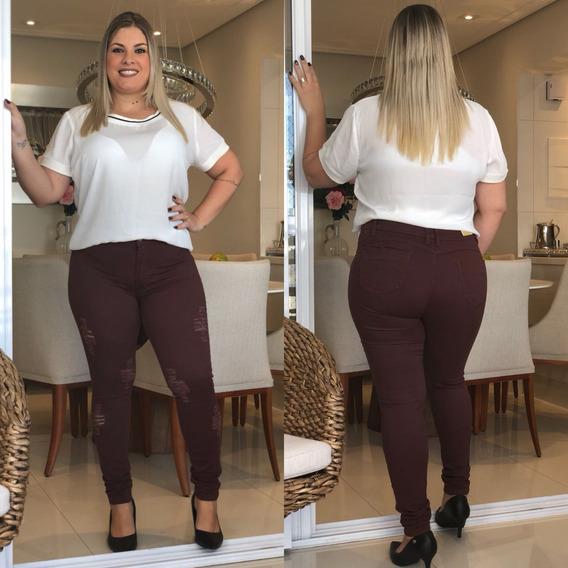 Calça Jeans Feminino Plus Size 46 A 54 Cintura Alta Grande