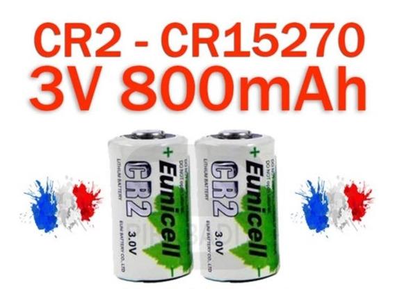 Bateria Cr2 Lítio 800mah 3v Eunicell Recarregável Kit 2x