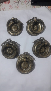 5 Antiguos Tiradores Herrajes De Muebles , Bronce Francés