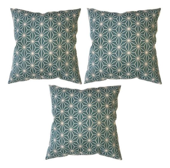 3 Cojines Decorativos Azul Verde Turquesa Salas Y Recamaras