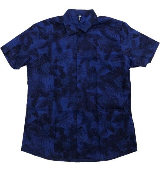 Camisa Masculina Estamp Floral Havaiana Manga Curta Chambray